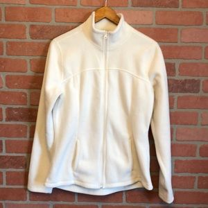 Old Navy women's white fleece zip up jacket M (Y)